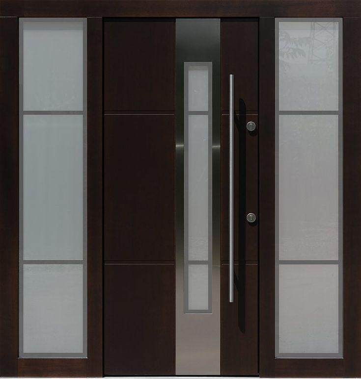 Drzwi zewnętrzne z doświetlami dostawkami bocznymi model z szybą wzór 449,3-449,13+ds9 w kolorze dąb bagienny.