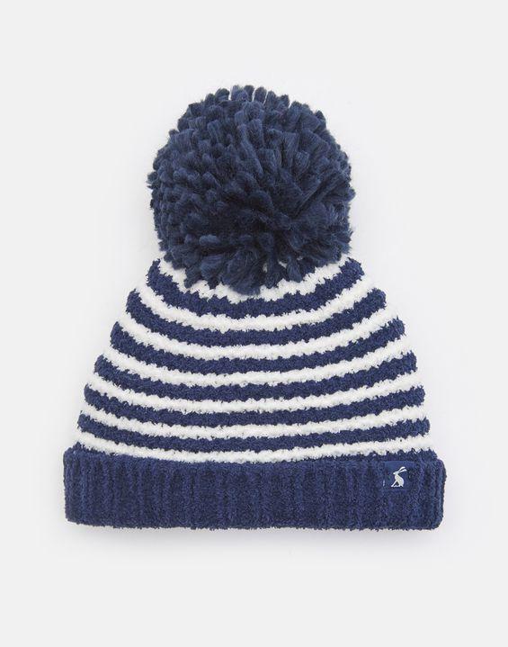 9f93898bc2c Joules UK POMME Baby Boys Chenille Knitted Bobble Hat NAVY STRIPE