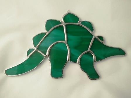 Our Stained Glass Stegosaurus Dinosaur in green. £15