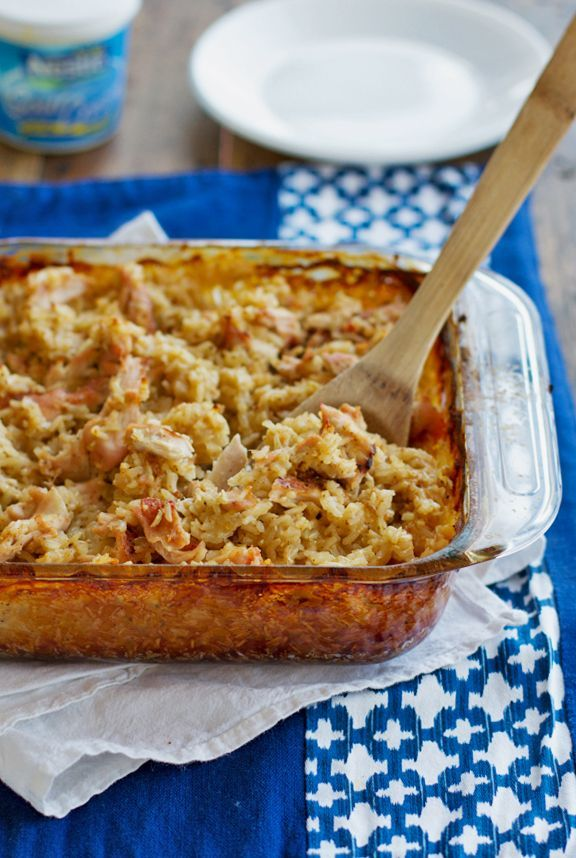 chicken and rice casserole- (this recipe has the directions to make your own cream of chicken soup.. cool to learn that..you can always use the canned kind too...)