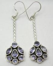 Zilveren edelsteen oorbellen met Ioliet stenen lang | Zilveren Edelsteen Oorbellen | Zilveren Edelsteen Sieraden | Zilveren Edelsteen Sieraden