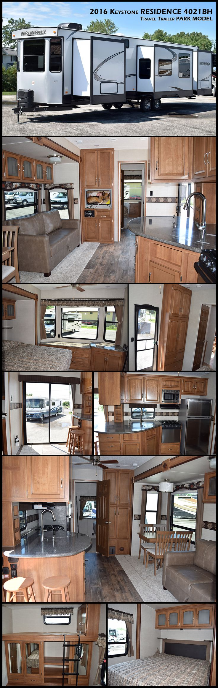 This 2016 KEYSTONE RESIDENCE 4021BH is the perfect Destination travel trailer home on wheels. It features triple slides, dual entry doors, a front and rear bedroom with one including a bunk, fiberglass exterior, and so much more! The front bedroom features a comfy pillow top king size bed, large wardrobe, LCD TV, and dresser. The bedroom also has its own private entry door for added convenience.
