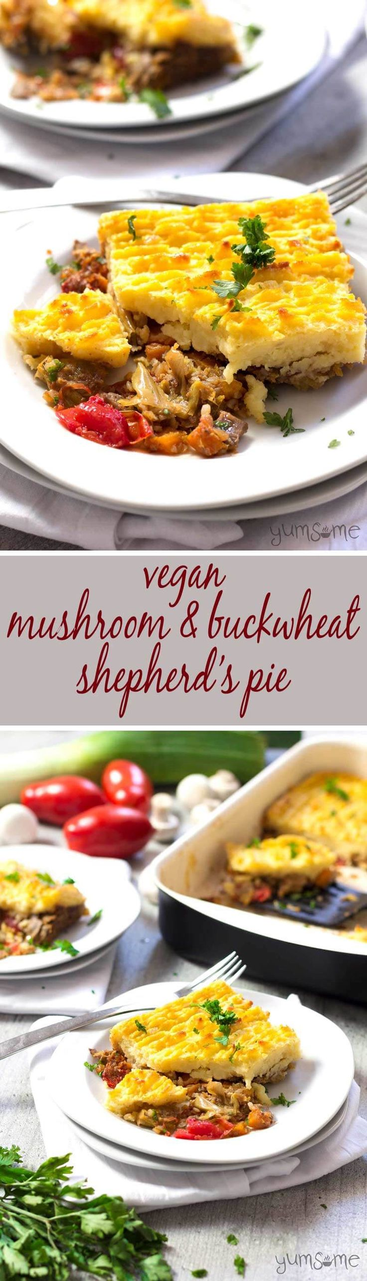 Hearty vegetables and nourishing buckwheat, topped with a layer of crisped creamy mashed potato, make my vegan mushroom and buckwheat shepherd's pie a deliciously comforting, filling, and very frugal autumn dish. It's so delicious, you won't miss the meat! | yumsome.com
