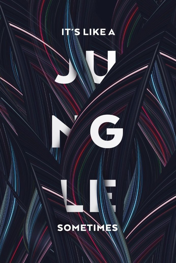 """Over used: I honestly don't really care for this kind of type because I've seen it a lot but I do like how the overlapping-ness goes with the idea of """"jungle"""""""