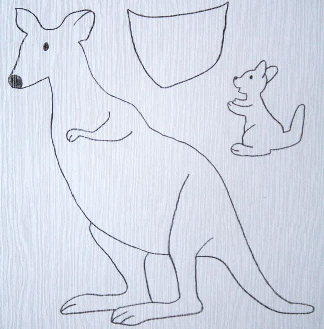 kangaroo craft template | early play templates: Australian Animals: simple kangaroos