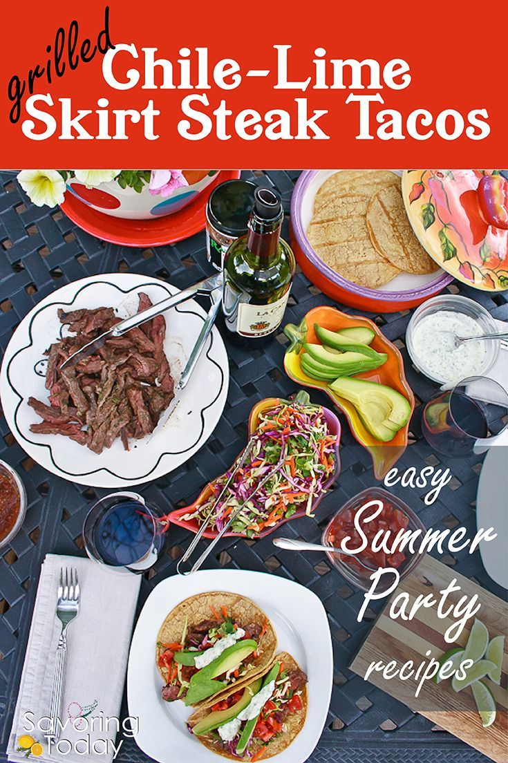 Most of this menu was prepped in advance and skirt steak takes just minutes to cook, so you'll enjoy lots of time with our guests instead of fussing over the food. Includes 2 skirt steak recipes, rainbow slaw, and an entire party menu for summer barbecue in your backyard. Grilled skirt steak tacos is easy summer party food!