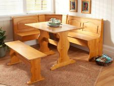 NEW 4 PC Solid Wood Breakfast Nook Corner Dining Set Table Bench Booth This one is on Ebay a bit plainer but with a nifty lace runner, a center piece and some cushions it'll be really cute. $300