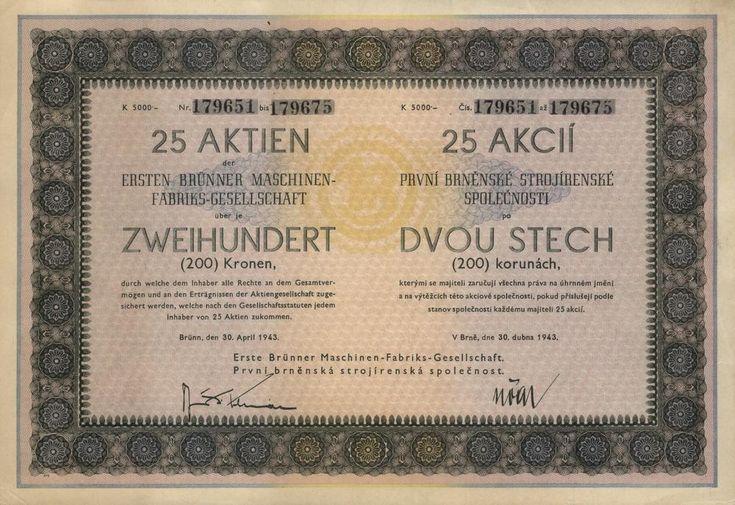 První brněnská strojírenská společnost (Erste Brünner Maschinenfabriks-Gesellschaft). Akcie na 25x 200 Korun (5 000 K). Brno, 1943.