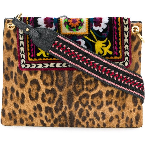 Etro leopard and aztec print shoulder bag ($2,640) ❤ liked on Polyvore featuring bags, handbags, shoulder bags, black, aztec handbag, leopard purse, multi colored handbags, shoulder hand bags and shoulder handbags