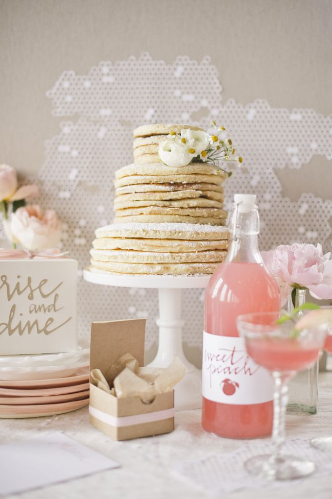 A pancake wedding cake - unusual! Cute homemade pink drink
