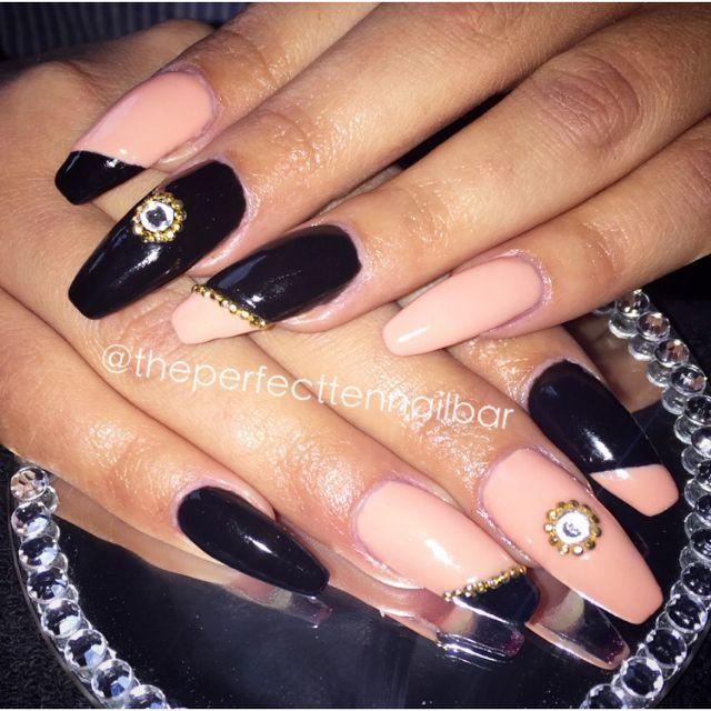 Black and nude, gel polish, acrylic nails, Swarovski, gold studs, nail art, gelish