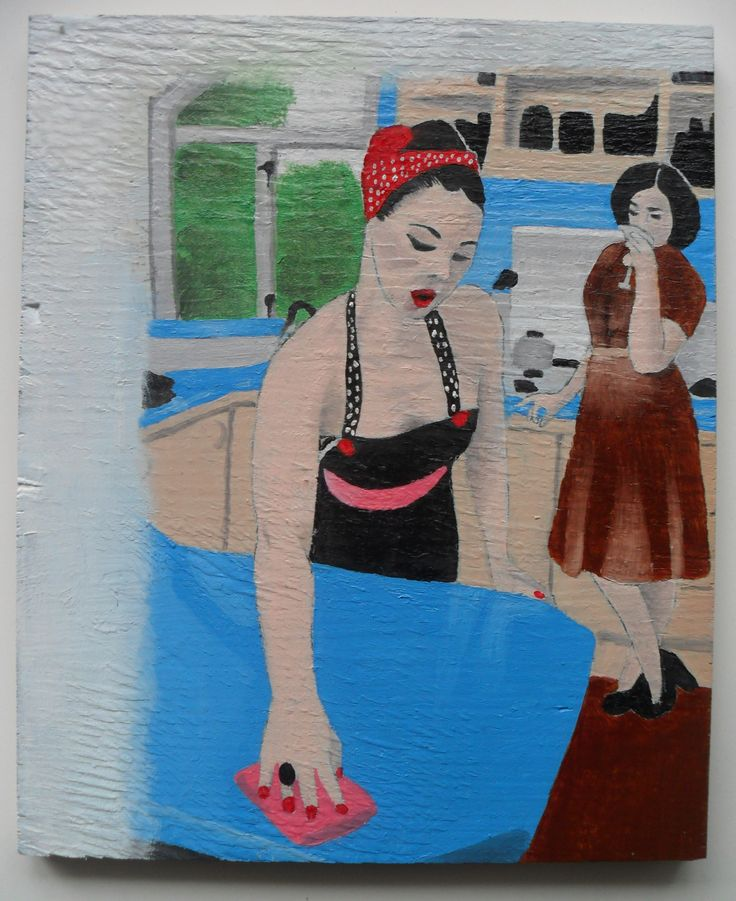 Cleaning - Oil on plywood - About A5 in size.