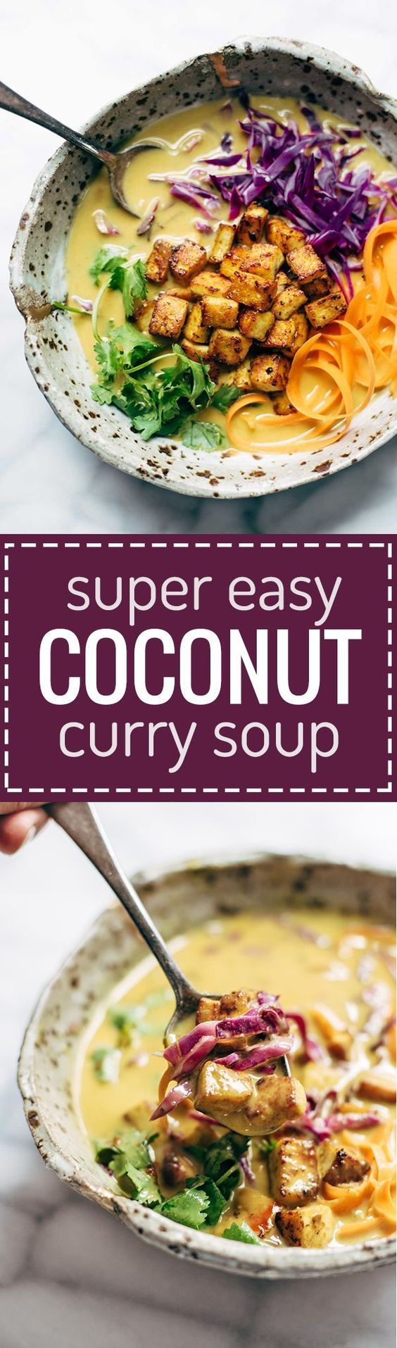 Coconut Curry Soup - this easy recipe can be made with almost ANY vegetables you have on hand! Silky-smooth and full of flavor. Vegetarian and vegan.