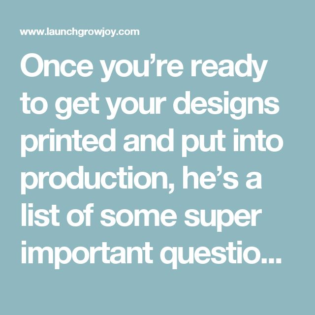 Once you're ready to get your designs printed and put into production, he's a list of some super important questions to run by your t-shirt printing company… 1. What are your maximum print dimensions? 2. What are your turnaround times? 3. Do you have a minimum order? 4. Are there any hidden fees? 5 Do you offer an art working service? 6. Do I get a visual proof of my order before my job goes to print? 7. What digital file types do you accept? 8. What are your delivery costs? 9. Are you able…