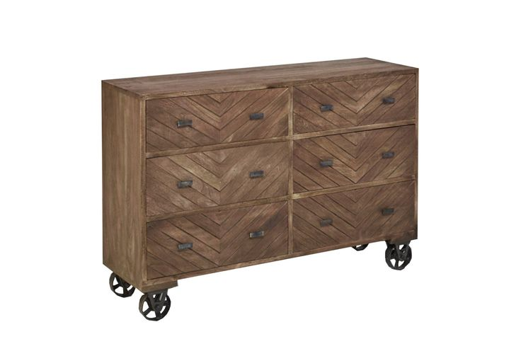Otb Natural Brown Finish Wheeled Dresser - Signature