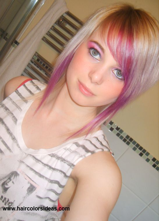 Blonde/Purple hair . Want this but red where the purple is and maybe silver instead of blonde