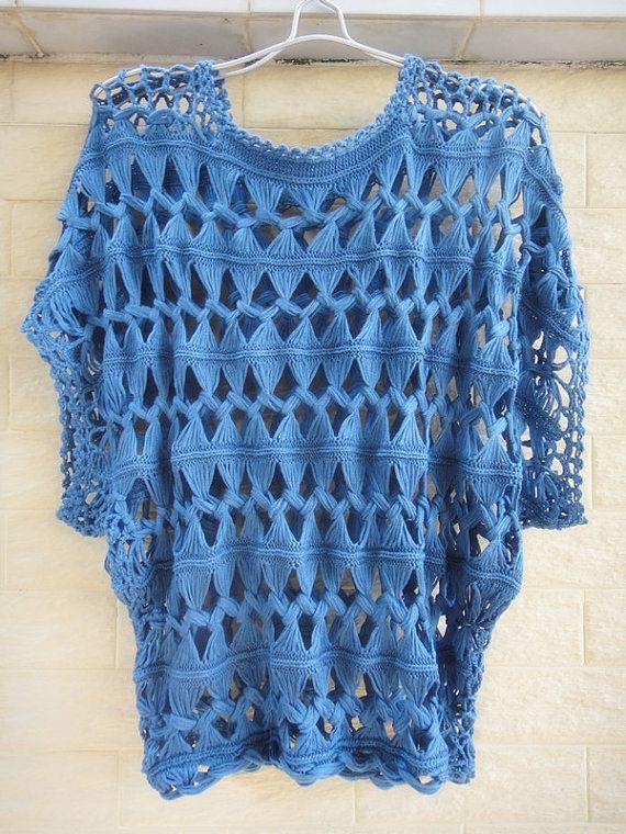 Fashion Summer Tunic Tops Denim Blue Sheer Blouse Lace Cube Sleeve Hairpin Crochet Pattern