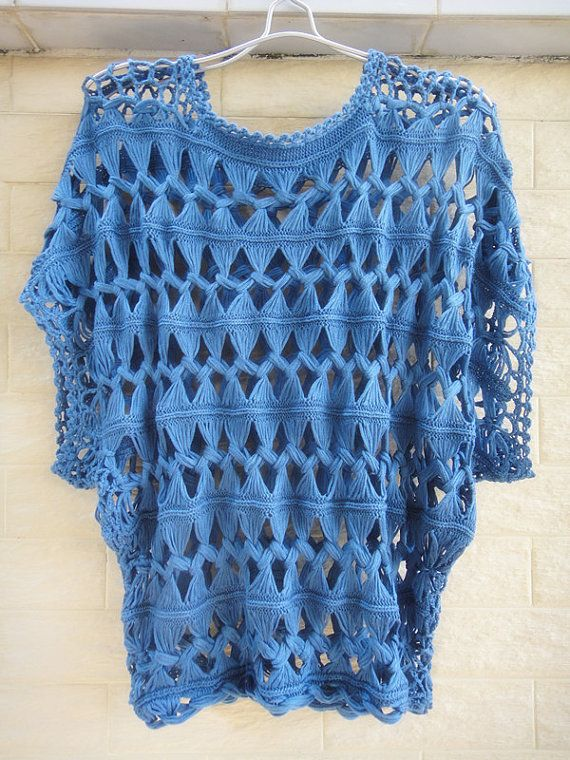 Fashion Summer Tunic Tops Denim Blue Sheer Blouse Lace Cube Sleeve Hairpin Crochet Pattern