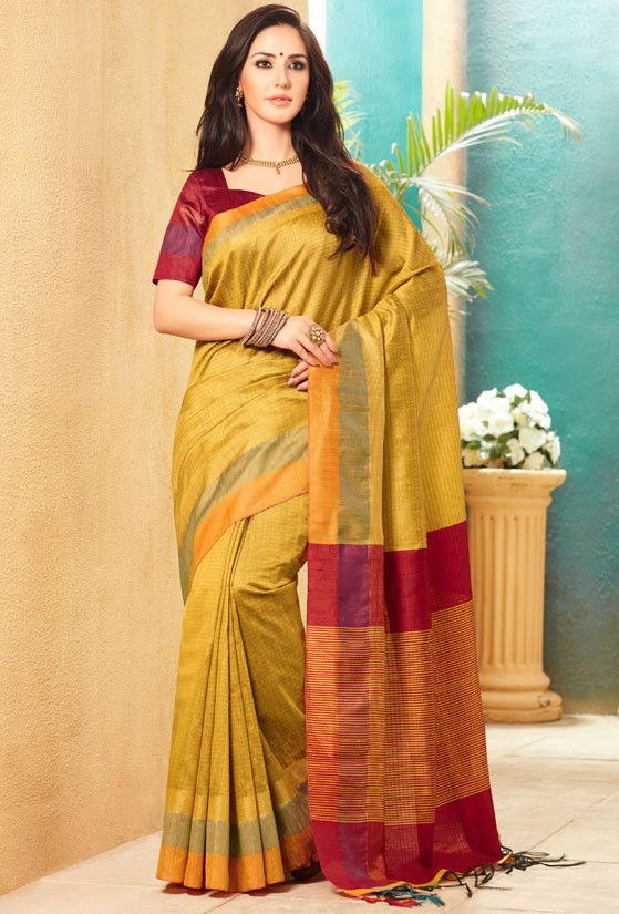Yellow and Cherry Red Jute Silk Saree with Double Blouse
