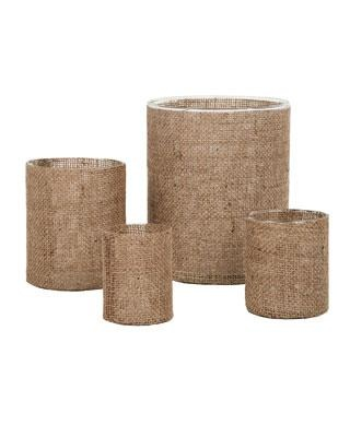 Burlap hurricane vases. Love the idea of mixing this texture into a room.