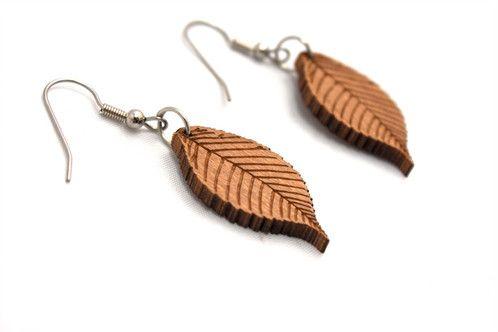 Leaf earrings lasercut from recycled cedar venetian blinds - $30