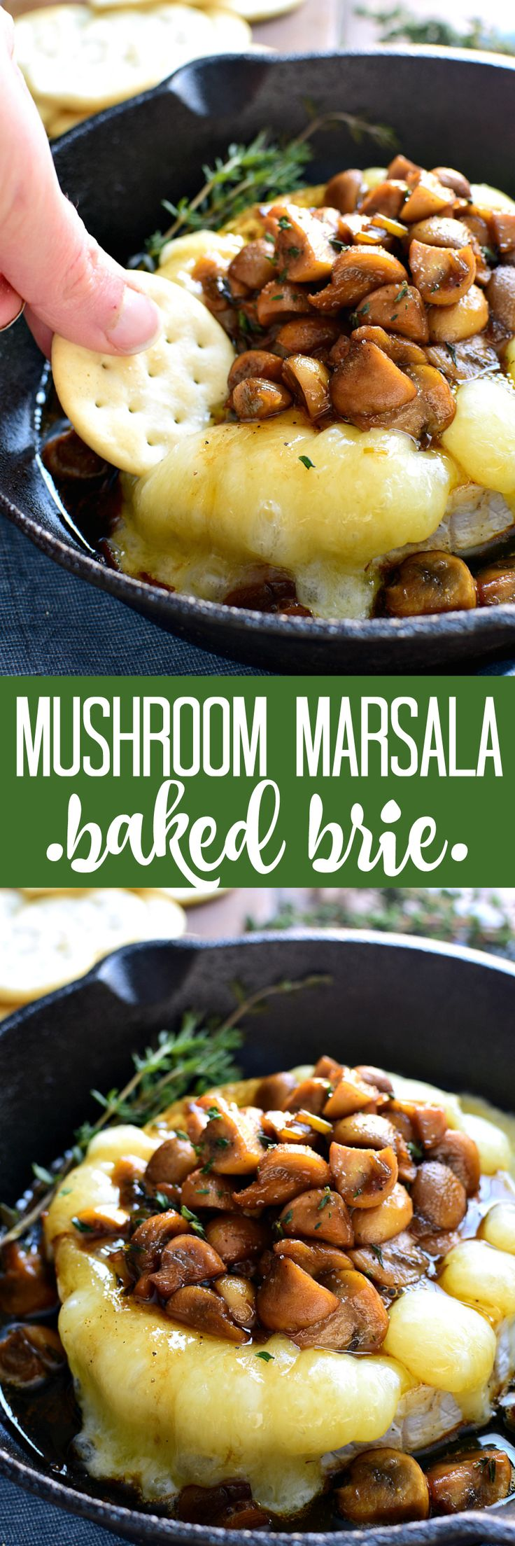 This Mushroom Marsala Baked Brie combines rich marsala-glazed mushrooms with creamy baked brie in a delicious appetizer that's perfect for New Years Eve or anytime!