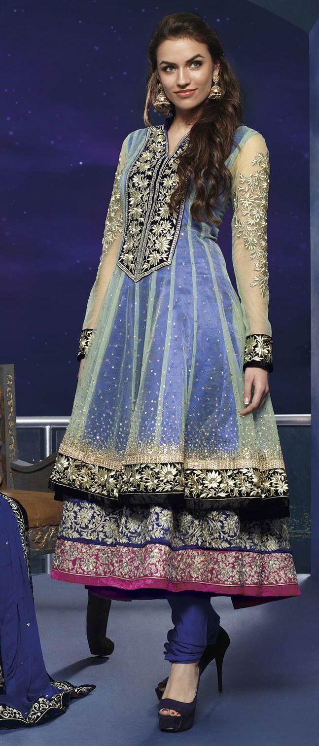 #Blue Net #Anarkali #Churidar Kameez @ $154.36