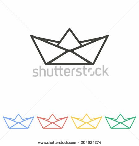 Paper boat   icon  on white background. Vector illustration.
