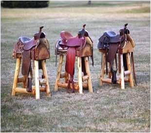 Set of TWO Western Saddle Bar Stools | ColoradoRustic - Furniture on ArtFire