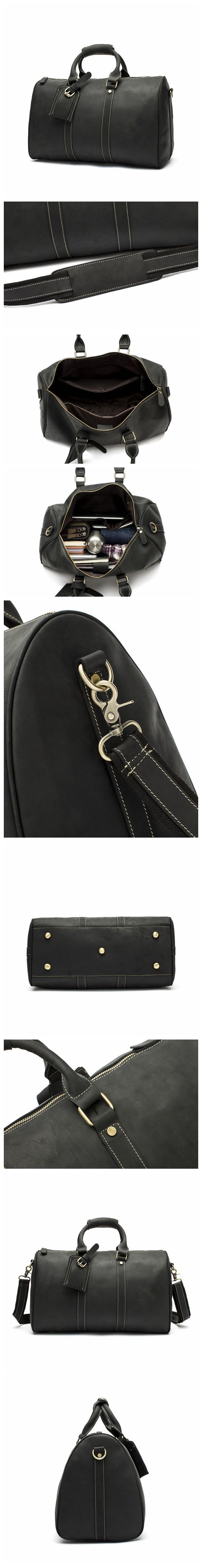 Handmade Leather Wearable Travel Bag, Large Capacity Men's Gym Bag, Duffle Bag 12026