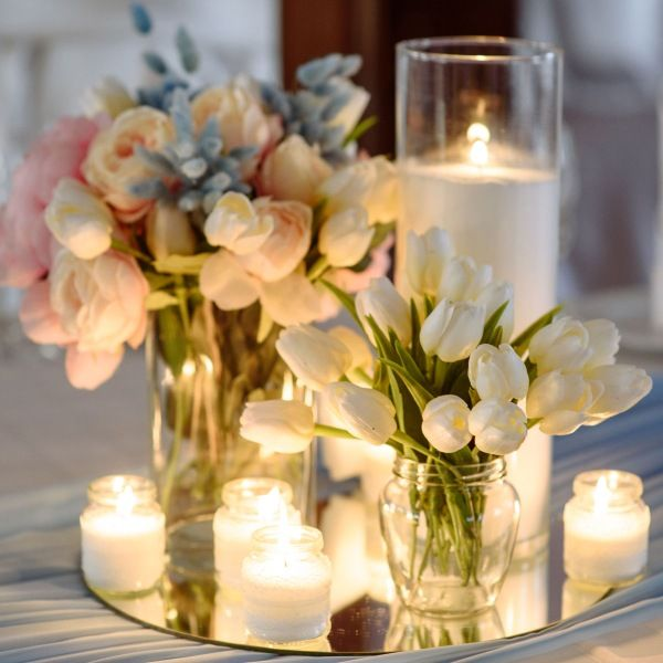 Magical Mirror Centerpiece With Candles And Flowers In Glass Vases Mirror Wedding Centerpieces Flower Centerpieces Wedding 50th Wedding Anniversary Decorations