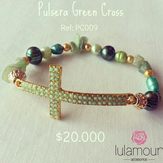 Green Cross bracelet. Mix of naturals beads. More on @lulamourr on instagram And Lulamour Accesorios on Facebook. Colombian brand.