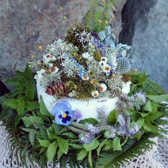 custom cake topper moss cake topper moss ring pillow by Westerwisp