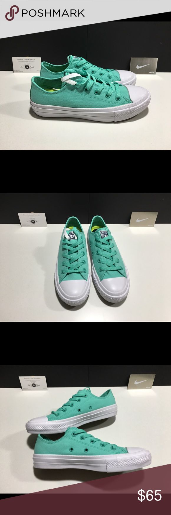 Women's Converse Chuck Taylor 2 ox TEAL NEW IN BOX 💯% authentic, directly from Nike/Converse.  ✅Brand New. Box is missing the lid. See pictures.   ✅Will Ship Out Next Day (Mon-Fri) ✅Open to Fair Offers ✅Send any other ❓my way! 🚫No Trades unfortunately                          Thanks for looking! ✌🏻. Converse Shoes Athletic Shoes