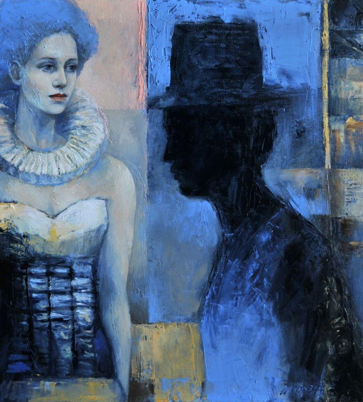 Anioą w gorsecie i facet w kapeluszu 2012 olej maąy