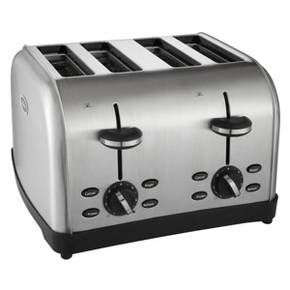<p>The Oster 4-Slice Stainless Steel Toaster's brushed finish makes a bold statement in any contemporary kitchen to toast treats for breakfast, snack time or anytime. Enjoy a variety of bread types, including bagel halves, hamburger buns, English muffins, hearty slices of artisan-style bread, frozen waffles and more. Advanced toasting technology ensures consistent results, while extra-wide slots and dual bread guides toast the thickest of the slices perfectly even and ...