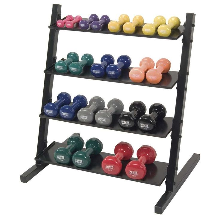 "Neoprene Vinyl Horizontal DB Rack w/ Vinyl DB Set 1-15 lb. Horizontal design organizes dumbbells on 4 sturdy metal shelves. Holds a complete set of 1 lb. to 15 lb. dumbbells. Steel construction. Assembly required. Black. 24"" L x 33"" W x 36"" H."