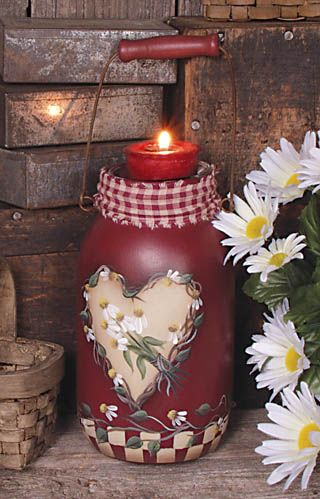 Handpainted hearts and flowers candle jar. Valentine's Day. Prim. Primitive