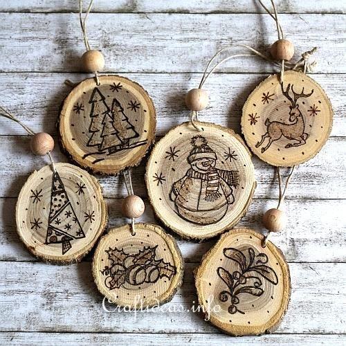 Wood Burned Christmas Ornaments 1