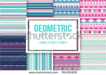 Seamless vector tribal texture set. Vector stripes pattern. Tribal seamless texture. Vintage ethnic seamless backdrop - stock vector