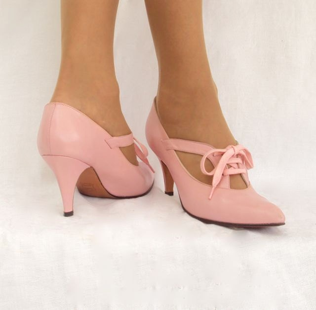 Shoes Pink Pumps with Laces by Amano for Lloyd Gotchy of Reno Vintage 8. $43.00, via Etsy.