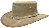 BARMAH HATS 1025 SQUASHY SUEDE LEATHER HAT: Hickory or Chocolate (Large, Hickory)