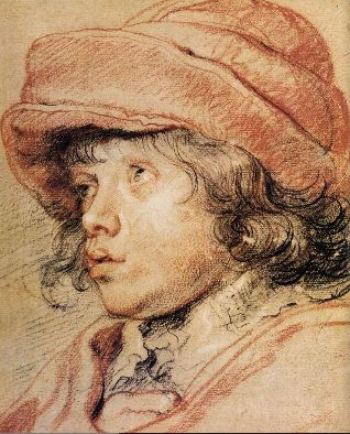 RUBENS Pieter Paul (Flemish 1577-1640) - his son Frans ?Sons Nicolas, Nicolaas Rubens, Peter Paul Rubens, Black And White, Peter O'Tool, Red Cap, Artists Sketchbooks, Art History, Red Black