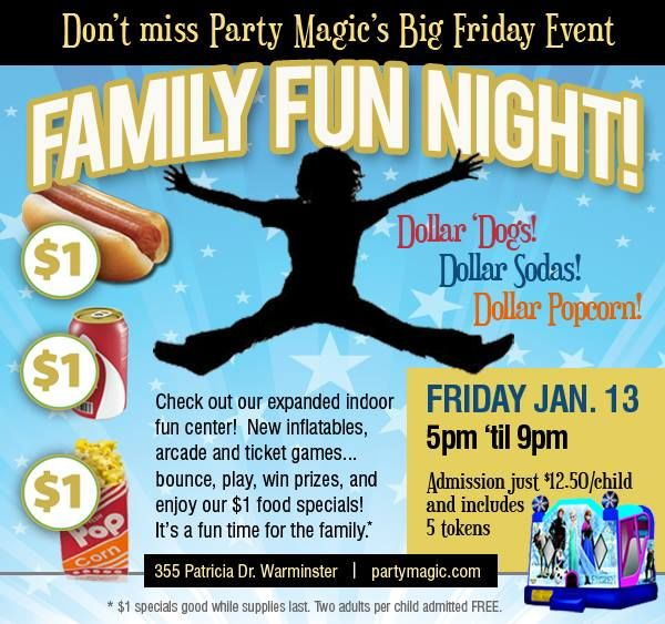 Party Magic invites you to check out Family Fun Night Friday January 13 2017.  Come enjoy our expanded indoor fun center with new inflatable rides arcade games ticket redemption prizes a snack bar toddler town and much more!  PLUS Family Fun Night at Party Magic features $1 SPECIALS on Hotdogs Sodas and Popcorn.  Don't miss the fun  at Party Magic in Warminster PA. - http://ift.tt/1HQJd81