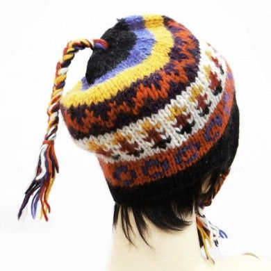 Multicolor Hand Knitted Cap Wool Blend Hat Winter Stylish Women Wear Accessory