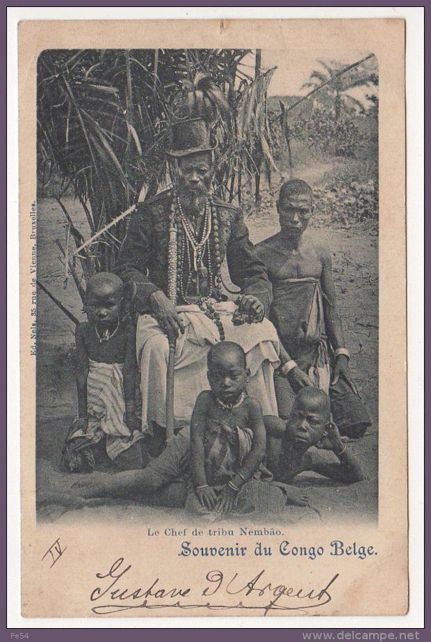 ° CONGO - BELGE ° SOUVENIR DU ... ° LE CHEF DE TRIBU NEMBÂO ° carte postée en 1899 °