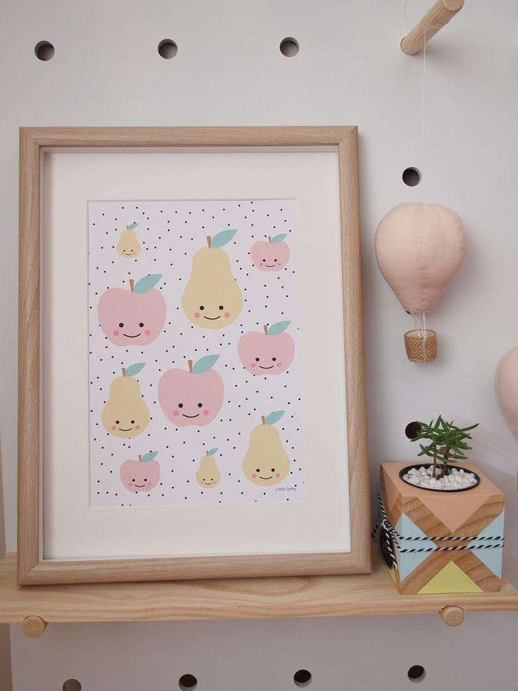 Cute mini Apples and Pears nursery bedroom wall art print.  Art print, scandi modern wall art. by LittleSotty on Etsy