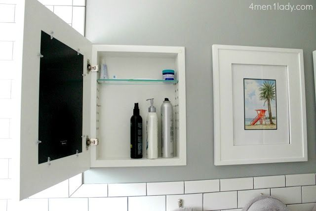 When your bathroom mirror doesn't double as a medicine cabinet (or, if your hair products simply require an overflow zone), try these cool hidden shelves that display art when closed.