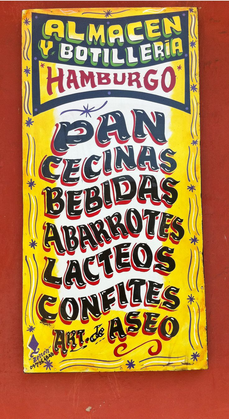 Hand painted shop sign in Santiago, Chile
