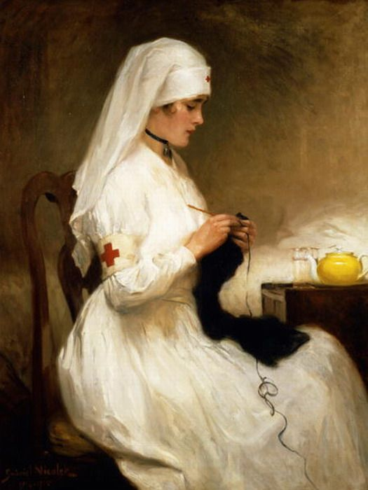 1914-8 Gabriel Emile Nicolet (Swiss 1856-1921) ~ The Patience of A Red Cross Nurse - The Red CrossRed Crosses, Art, Gardens Furniture, Wicker Furniture, Vintage Nurs, Nursing, Gabriel Emil, Emil Niscolet, Vintage Image